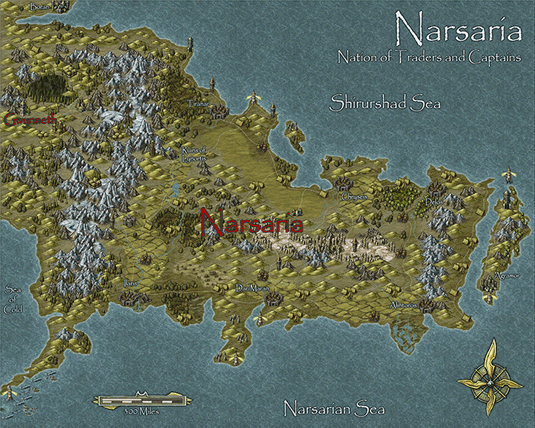 Narsaria map created with Campaign Cartographer 3